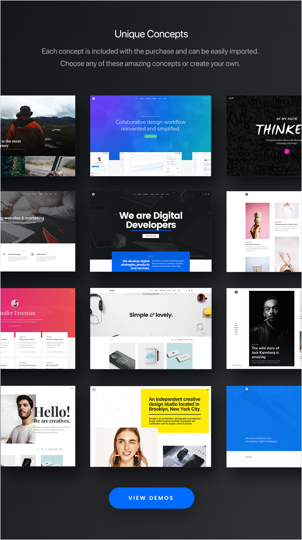 Stunning demos  - concepts min - Uncode – Creative Multiuse WordPress Theme