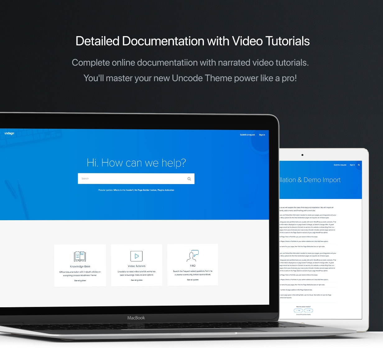 Online documentation  - docs min - Uncode – Creative Multiuse WordPress Theme