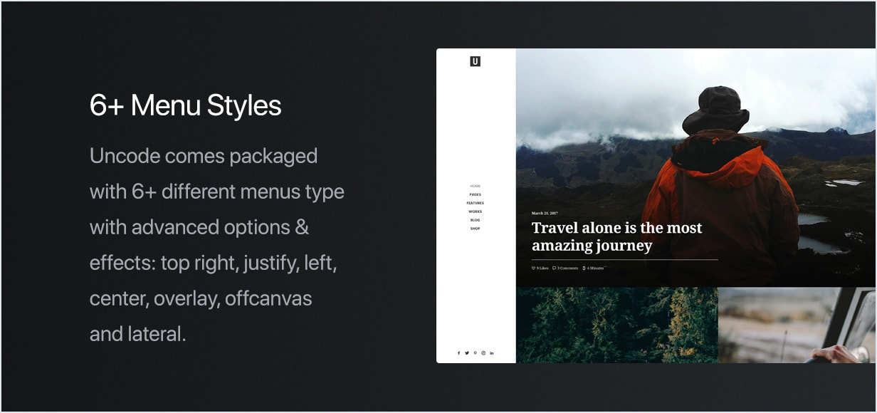 Different Menu styles  - feature menu min - Uncode – Creative Multiuse WordPress Theme