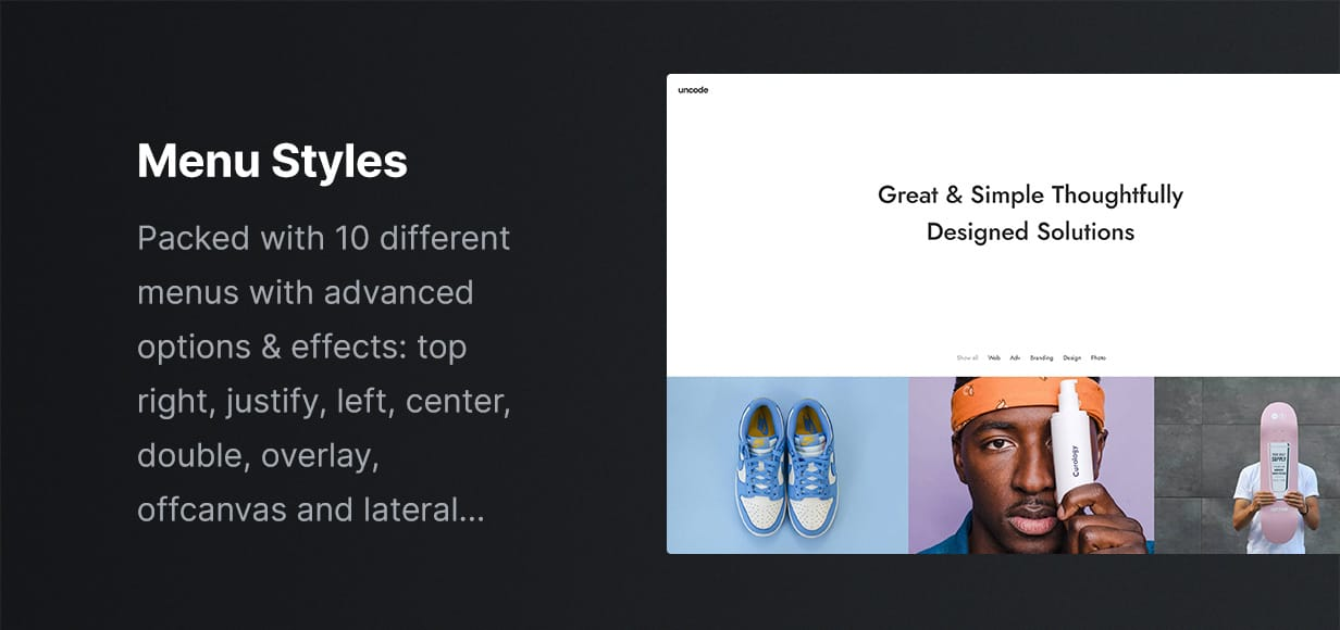 Uncode - Creative Multiuse & WooCommerce WordPress Theme - Menu Variations